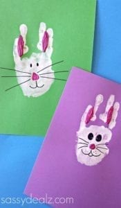 Hand print bunny easter craft - acraftylife.com