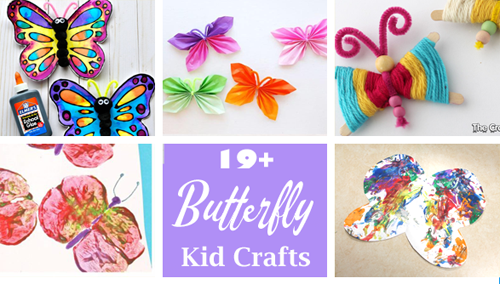 butterfly kid craft - spring kid crafts- paint, paper butterfly crafts for kids- acraftylife.com #preschool #craftsforkids #crafts #kidscraft