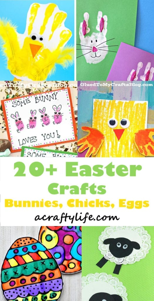 Kids Easter Crafts - 20 plus crafts- bunnies, chicks, lambs - spring crafts - acraftylife.com
