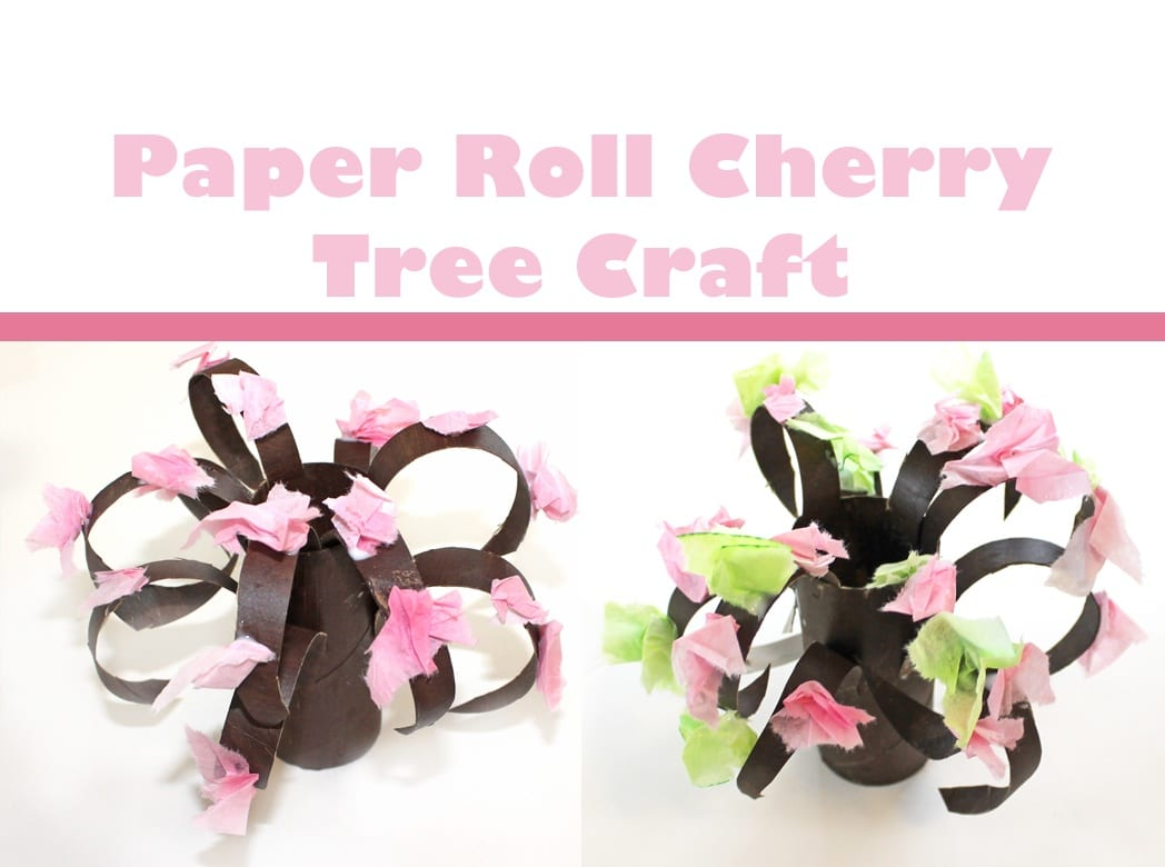 Cherry blossom paper roll tree - spring tree craft- kids craft - acrafylife.com