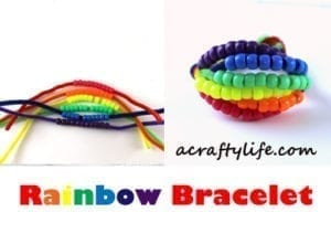 rainbow bracelet kid craft - rainbow crafts for kids- acraftylife.com #preschool #craftsforkids #kidscrafts