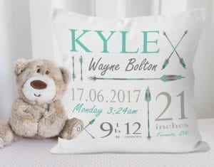 birth announcement arrow pillow - arrow nursery ideas - acraftylife.com