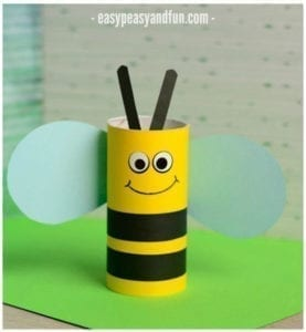 bee paper roll craft - kids craft- recycle craft - acraftylife.com