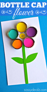 bottle cap flower - mother's day craft - flower kid crafts - acraftylife.com #preschool #craftsforkids #crafts #kidscraft