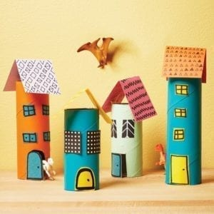 mini building paper roll - kids craft- recycle craft - acraftylife.com