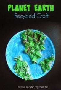 recycled earth - Earth Kid Craft - Earth craft for kids – recycle craft for kids - spring craft - acraftylife.com #preschool #craftsforkids #crafts #kidscraft