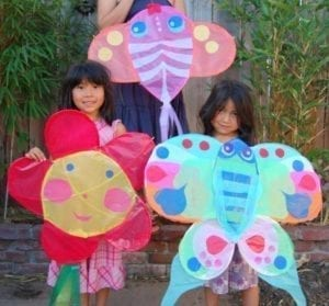 homemade colorful kite - kite crafts for kids- spring kid crafts- kid crafts - acraftylife.com #preschool