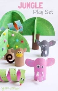 jungle play set paper roll craft- kids craft- recycle craft - acraftylife.com