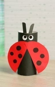 ladybug paper roll craft - - kids craft- recycle craft - acraftylife.com