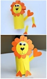 lion paper roll craft - kids craft- recycle craft - acraftylife.com