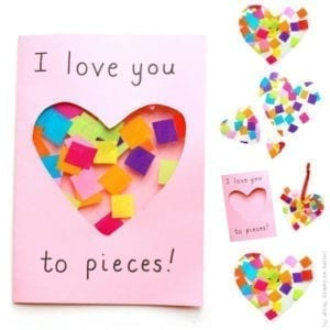 I love you to pieces Card - mother's day craft - kid crafts - acraftylife.com #preschool #craftsforkids #crafts #kidscraft
