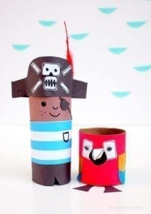 pirate and parrot paper roll craft - kids craft- recycle craft - acraftylife.com