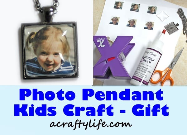 photo pendant kid craft - fathers day craft - mothers day craft - crafts for kids- kid crafts - acraftylife.com #preschool