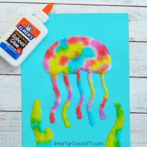 salt painting jellyfish kid craft - jellyfish kids crafts - ocean kids craft - crafts for kids- kid crafts - acraftylife.com #preschool