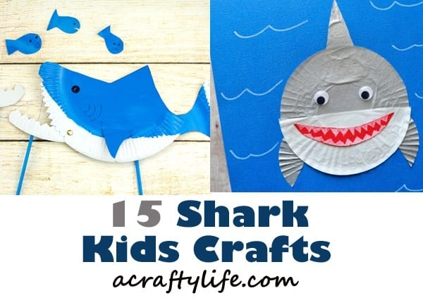 shark kids crafts - crafts for kids- ocean kid crafts - acraftylife.com #preschool