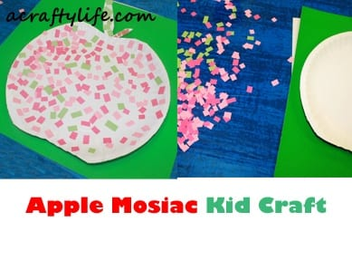 mosaic apple kid craft fall kid craft - autumn crafts for kids- #preschool #craftsforkids #kidscrafts