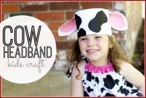 cow headband kid craft - farm kid crafts - crafts for kids- acraftylife.com #preschool #craftsforkids #kidscrafts