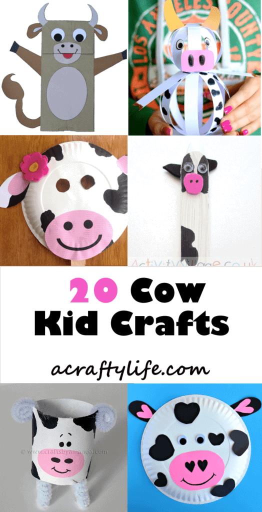 cow kid crafts - farm kid crafts - crafts for kids- acraftylife.com #preschool #craftsforkids #kidscrafts