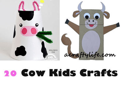 cow kid crafts - farm kid crafts - crafts for kids- acraftylife.com #preschool #craftsforkids #kidscrafts