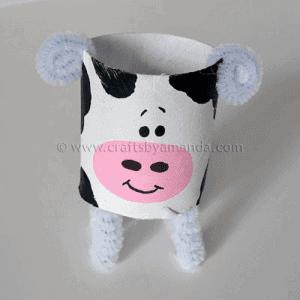 paper roll cow kid craft - cow kid craft - farm kid crafts - crafts for kids- acraftylife.com #preschool #craftsforkids #kidscrafts
