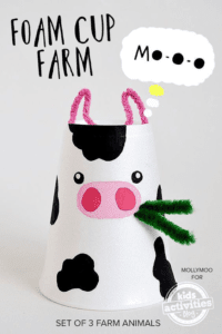 foam cup cow kid craft - cow kid craft - farm kid crafts - crafts for kids- acraftylife.com #preschool #craftsforkids #kidscrafts