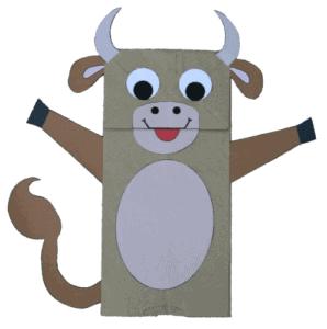 paper bag cow kid craft - cow kid craft - farm kid crafts - crafts for kids- acraftylife.com #preschool #craftsforkids #kidscrafts