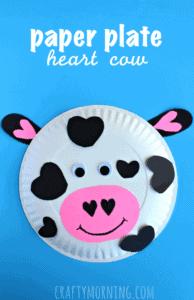 paper plate heart cow kid craft - cow kid craft - farm kid crafts - crafts for kids- acraftylife.com #preschool #craftsforkids #kidscrafts