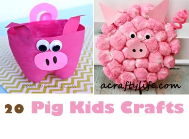 pig kid craft - farm kid crafts - crafts for kids- acraftylife.com #preschool #craftsforkids #kidscrafts