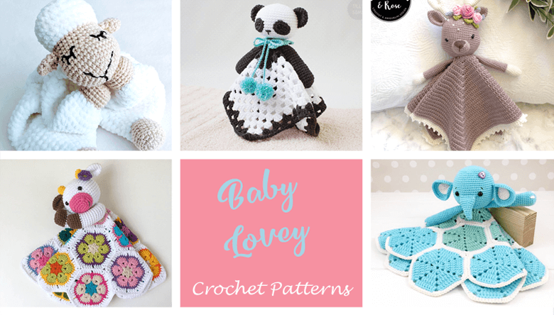 Crochet Teddy Bear Lovey Security Travel Blanket Wubby Pink Blanket