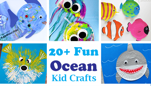 crafts for kids- ocean kid crafts - shark, jellyfish, fish, octopus - acraftylife.com #preschool #craftsforkids #kidscrafts #artsandcrafts