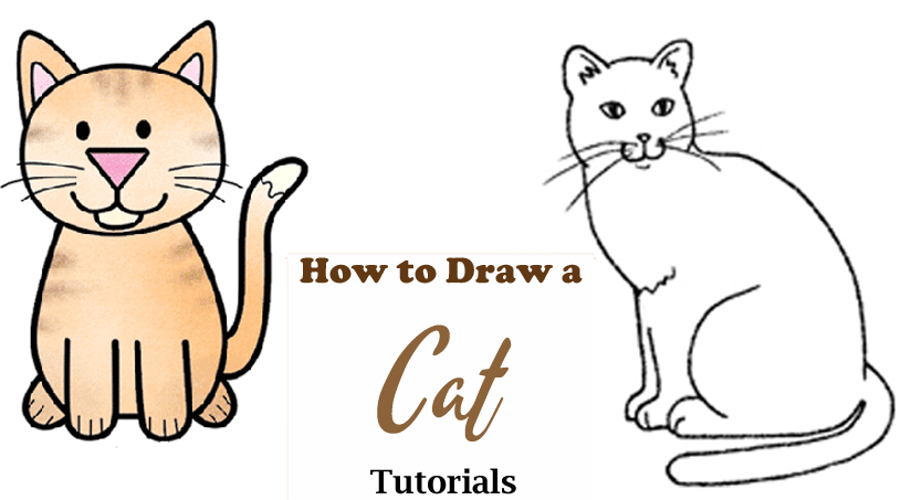 How to draw a cat step by step - easy drawing tutorials - videos- acraftylife.com #kidscraft #craftsforkids #drawing