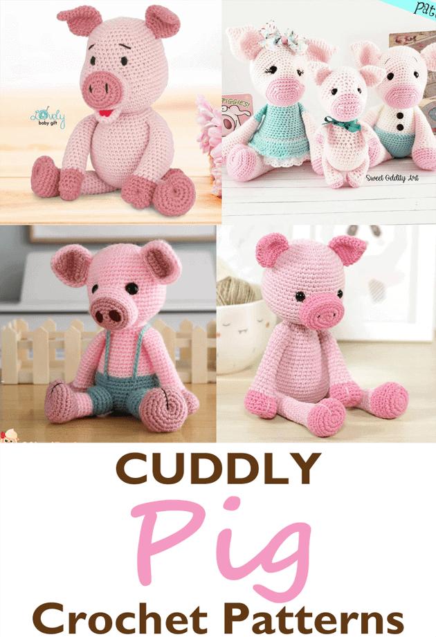 patron crochet piglet - peluche cerdo crochet patron pdf - amigurumi acraftylife.com #crochet #crochetpattern
