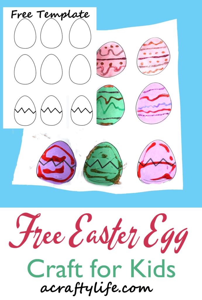 Plantilla de huevo de Pascua imprimible manualidades para niños - manualidades para niños - manualidades de primavera para niños -acraftylife.com #kidscraft #craftsforkids #preescolar