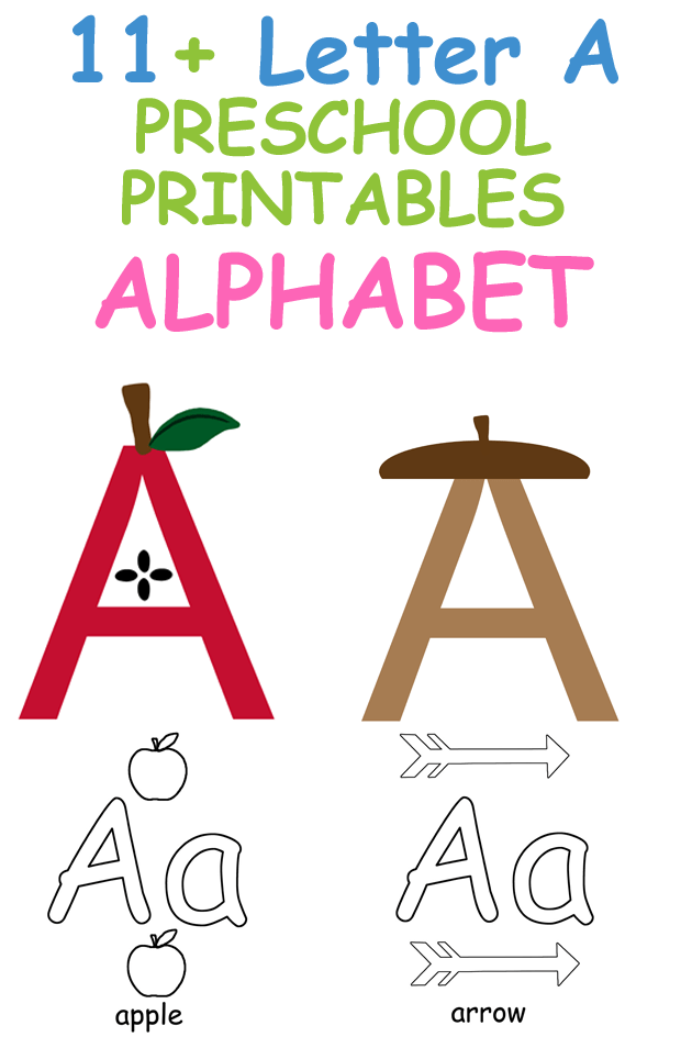 Plantilla de Imprimibles de Letra A Actividades - Manualidades para Letra A - Manualidades para niños en edad preescolar - Receta matemática del alfabeto acraftylife.com #preescolar #craftsforkids #kidscrafts