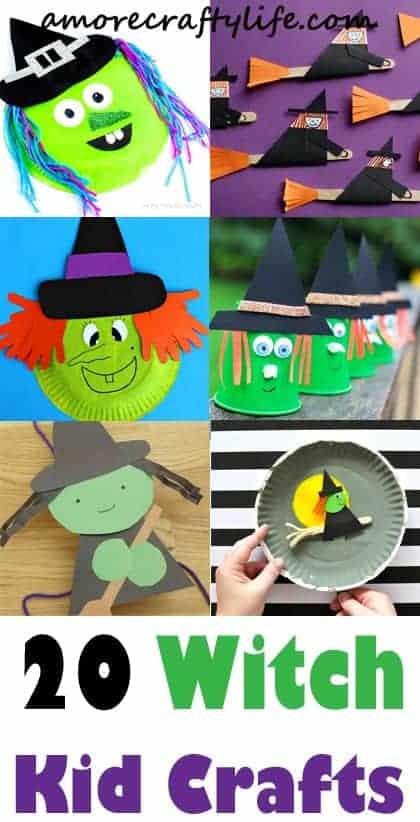 Artesanato de bruxas para crianças - Artesanato infantil de Halloween - Artesanato infantil outono -acraftylife #kidscraft #craftsforkids #pré-escola